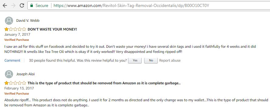 revitol skin tag removal scam