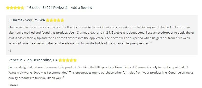 H warts formula customer reviews